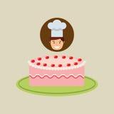 Cartoon chef dessert delicious cake cream strawberry Stock Image