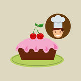 Cartoon chef dessert pink cup cake Stock Image