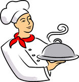 Cartoon Chef/eps. Cartoon illustration of a chef carrying a covered plate of food