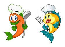 Cartoon chef fish characters. Cartoon happy fish characters with chef toque, spoon ans spatula Royalty Free Stock Photo