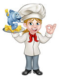 Cartoon Chef Fish and Chips Woman. A cartoon female chef character holding fish and chips meal Royalty Free Stock Images