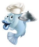 Cartoon chef fish and cloche. An illustration of a blue cartoon chef fish character holding a tray or platter cloche, seafood mascot concept Stock Photo