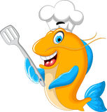 Cartoon chef fish holding a kitchen spatula for you design. Illustration of Cartoon chef fish holding a kitchen spatula for you design Royalty Free Stock Images