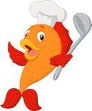 Cartoon chef fish holding soup ladle. Illustration of Cartoon chef fish holding soup ladle Stock Images