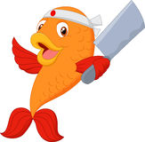Cartoon chef fish holding spatula. Illustration of Cartoon chef fish holding spatula Royalty Free Stock Photos