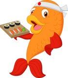 Cartoon chef fish holding sushi. Illustration of Cartoon chef fish holding sushi Royalty Free Stock Photos