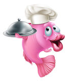 Cartoon chef fish mascot. A cartoon chef fish mascot holding a tray or platter cloche, seafood character concept Royalty Free Stock Images