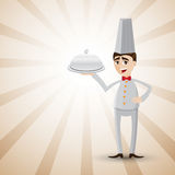 Cartoon chef with food tray. Illustration of cartoon chef showing a food tray.on shiny background Stock Photo