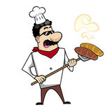 Cartoon Chef with Fresh Bread Stock Images