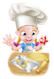 Cartoon Chef Girl Baking Royalty Free Stock Images