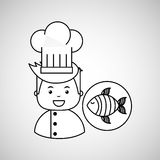 Cartoon chef gourmet fresh fish. Vector illustration eps 10 Stock Photography