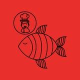 Cartoon chef gourmet fresh fish Royalty Free Stock Photos