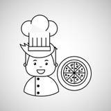 Cartoon chef gourmet pizza italian Stock Photos