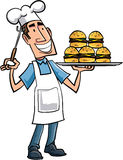 Cartoon chef with hamburgers. On a serving platter Stock Images