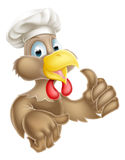 Cartoon Chef Hat Chicken. A cartoon chicken character wearing a chef hat and giving a thumbs up Stock Image