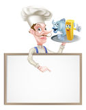Cartoon Chef Holding Fish and Chips Sign Royalty Free Stock Image