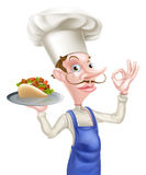 Cartoon Chef Holding Kebab Giving Perfect Sign Stock Photo