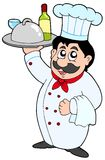 Cartoon chef holding meal and wine Royalty Free Stock Images