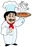 Cartoon chef holding pizza royalty free illustration