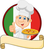 Cartoon chef holding a pizza and giving a thumbs up Stock Images