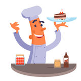 Cartoon chef holding plate with cake Royalty Free Stock Image