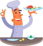Cartoon chef holding plate with fish steak. Cartoon chef smiling and holding plate with fish steak Royalty Free Stock Photo