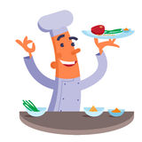 Cartoon chef holding plate with meat steak Stock Photos