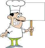 Cartoon chef holding a sign Royalty Free Stock Photo