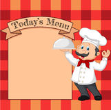 Cartoon chef holding a silver platter or cloche pointing at a banner or menu Royalty Free Stock Images