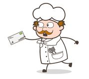 Cartoon Chef in Hurry to Deliver the Letter Vector Illustration. Design Stock Image