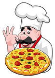vector cartoon chef with italian pizza Royalty Free Stock Photography