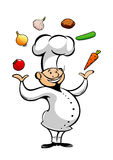Cartoon chef juggling fresh vegetables Royalty Free Stock Image
