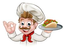 Cartoon Chef Kebab Stock Image