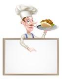 Cartoon Chef Kebab Sign Royalty Free Stock Photography