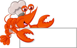 Cartoon Chef lobster with blank sign