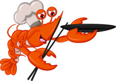 Cartoon Chef lobster with chopsticks and bowl Stock Images