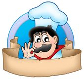 Cartoon chef logo with banner Stock Image