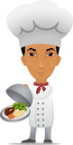 Cartoon chef with main course Stock Images