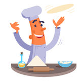 Cartoon chef making pizza dough Stock Image