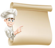 Cartoon chef and menu. Illustration of a happy chef character pointing at a scroll maybe with a menu on it vector illustration