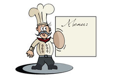 Cartoon Chef and Menu in Vector Format Royalty Free Stock Image