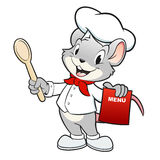 Cartoon Chef Mouse. Vector illustration of a mouse chef holding a wooden spoon Stock Images