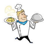 Cartoon chef with pasta bowl and serving tray Royalty Free Stock Photos
