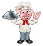 Cartoon Chef Pig Character Stock Images