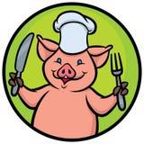 Cartoon chef pig Stock Photos