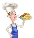 Cartoon Chef With Pita Kebab and Chips Stock Photography
