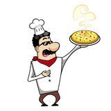 Cartoon chef with pizza Stock Photos