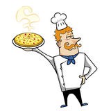 Cartoon Chef with Pizza Stock Image