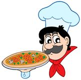 Cartoon chef with pizza Stock Images