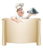 Cartoon Chef Pointing at Menu Stock Images